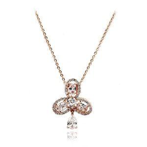 Rose gold sparkling clover pendant crystal necklac